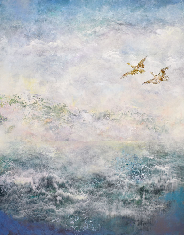 Painting image of ocean with birds