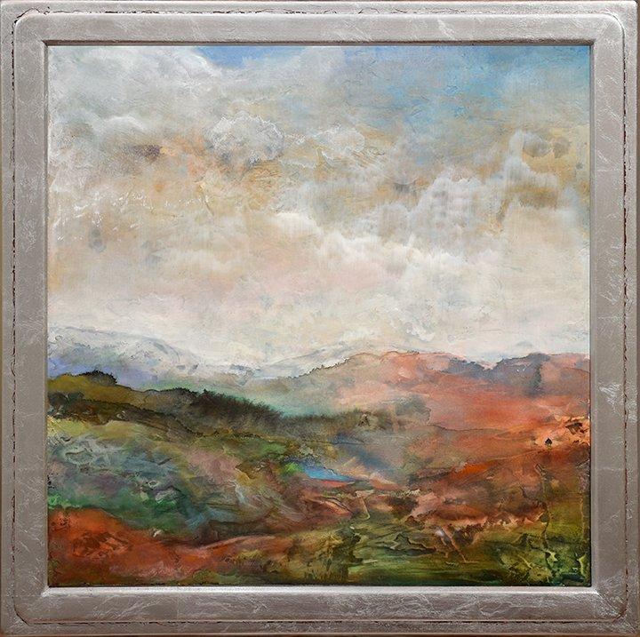"""Canyon Landscape, 24"""" x 24"""", acrylic on wood panel, $2400."""