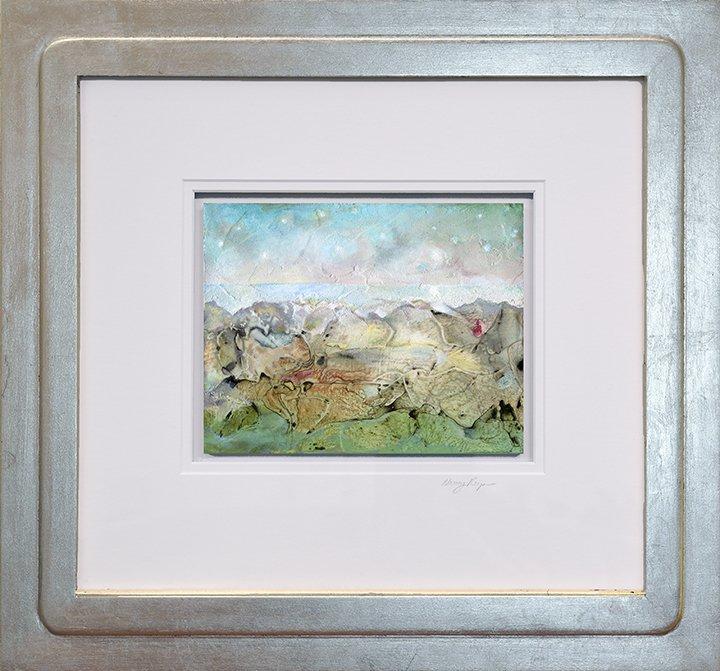 """Mystery, 18.25"""" x 20"""", acrylic on wood panel, $1450."""