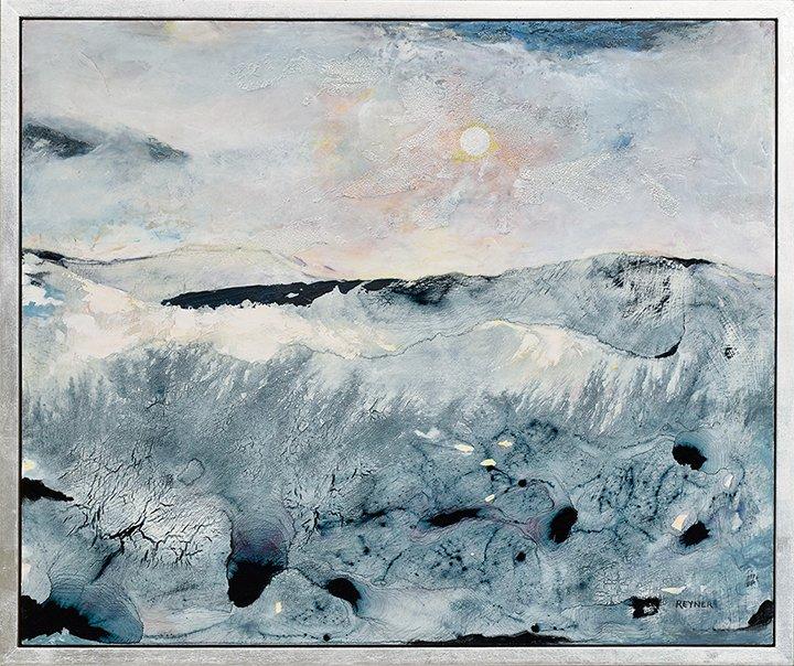 "Blue Seascape, 21.25"" x 25.25"", acrylic on panel, $2400."